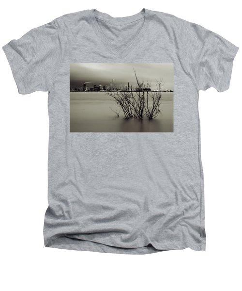 Industry On The Mississippi River, In Monochrome Men's V-Neck T-Shirt