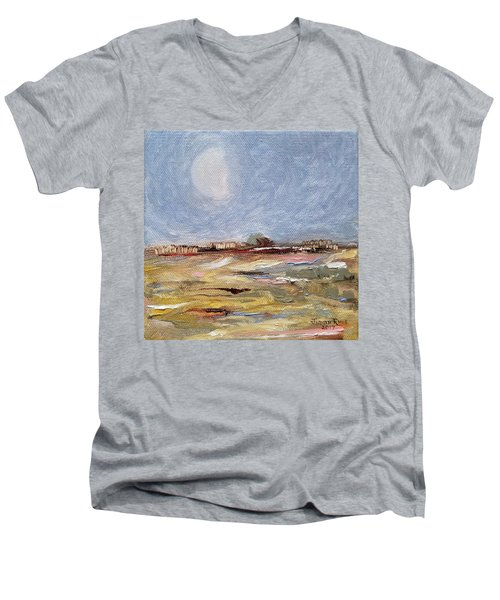 Men's V-Neck T-Shirt featuring the painting Inevitable Epoch by Judith Rhue