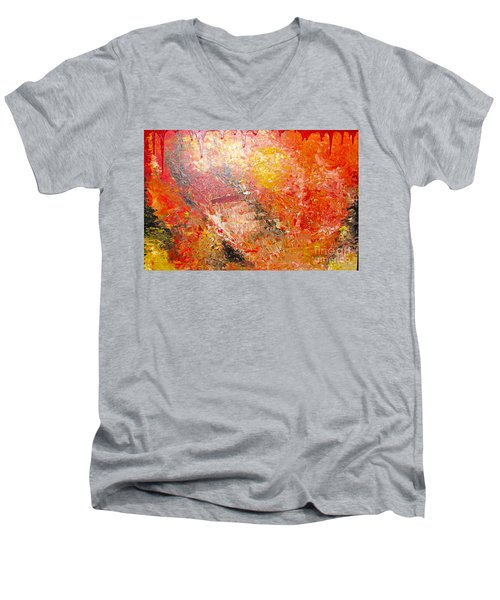 Men's V-Neck T-Shirt featuring the painting Inferno by Jacqueline Athmann