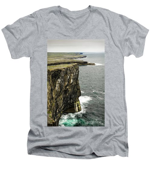Men's V-Neck T-Shirt featuring the photograph Inishmore Cliffs And Karst Landscape From Dun Aengus by RicardMN Photography
