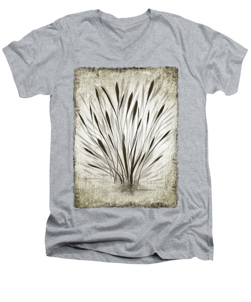 Men's V-Neck T-Shirt featuring the drawing Ink Grass by Ivana Westin