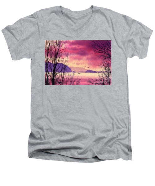 Men's V-Neck T-Shirt featuring the painting Inland Sea Islands by James Williamson