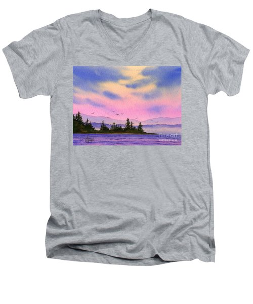 Men's V-Neck T-Shirt featuring the painting Inland Sea Sunset by James Williamson