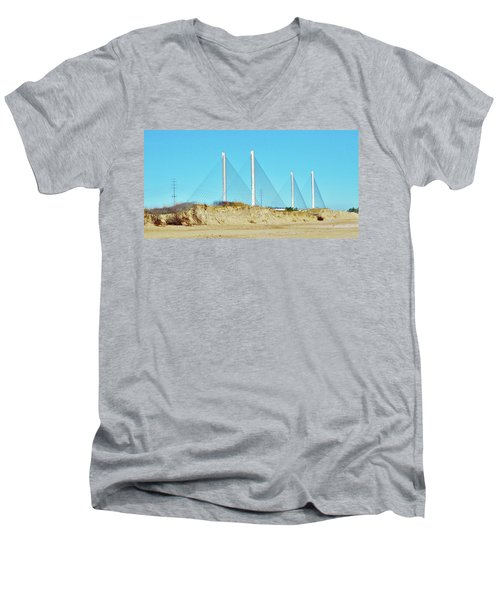 Inlet Bridge Beach View Men's V-Neck T-Shirt by William Bartholomew