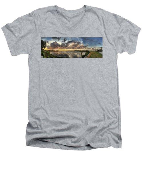 Inlet Sunrise Panorama Men's V-Neck T-Shirt by Phil Mancuso