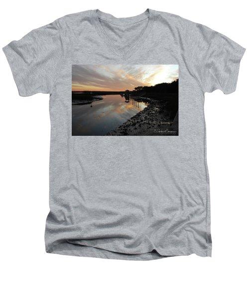 Inlet Sunset Men's V-Neck T-Shirt by Gordon Mooneyhan