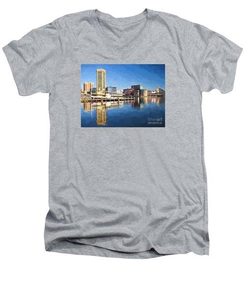 Inner Harbor Reflections  Men's V-Neck T-Shirt