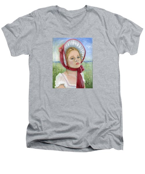 Men's V-Neck T-Shirt featuring the painting Innocence by Terry Webb Harshman