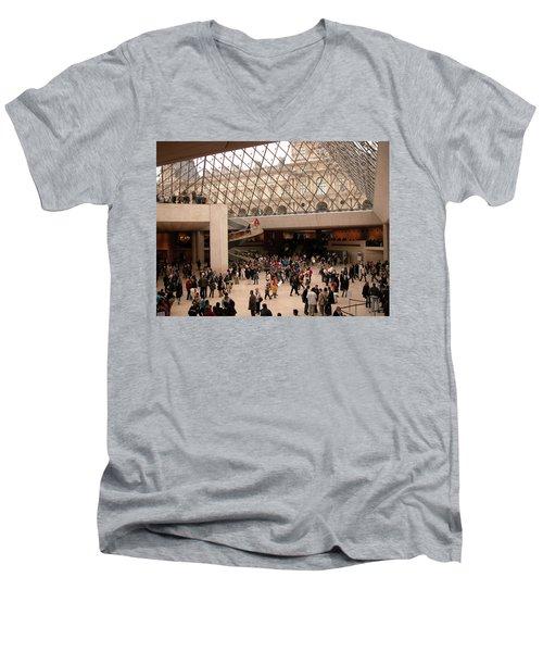 Men's V-Neck T-Shirt featuring the photograph Inside Louvre Museum Pyramid by Mark Czerniec
