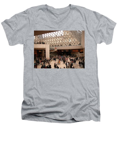 Men's V-Neck T-Shirt featuring the photograph Inside Louvre Museum Pyramid by Mark Czerniec