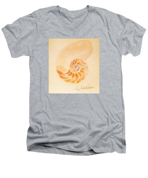 Inside Of A Nautilus Men's V-Neck T-Shirt by Ann Michelle Swadener