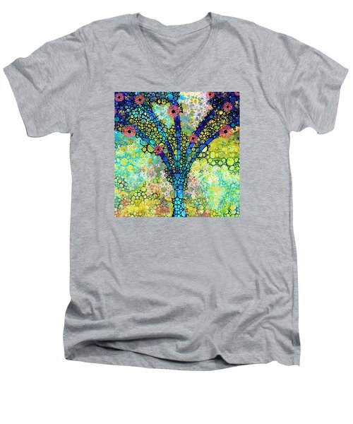 Men's V-Neck T-Shirt featuring the painting Inspirational Art - Absolute Joy - Sharon Cummings by Sharon Cummings