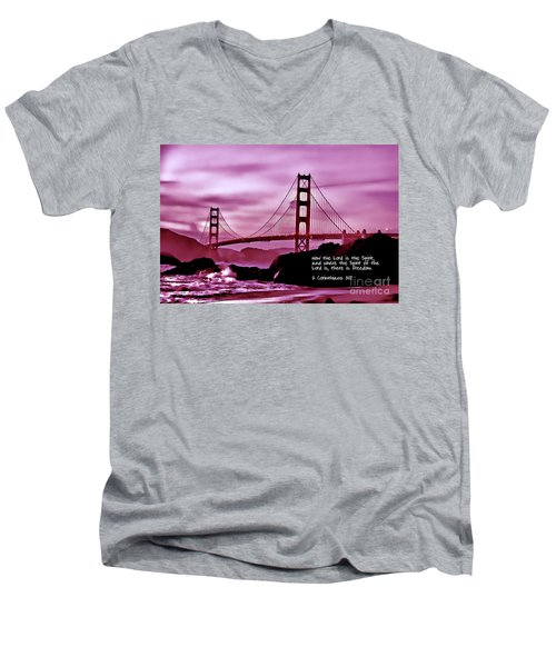 Inspirational - Nightfall At The Golden Gate Men's V-Neck T-Shirt