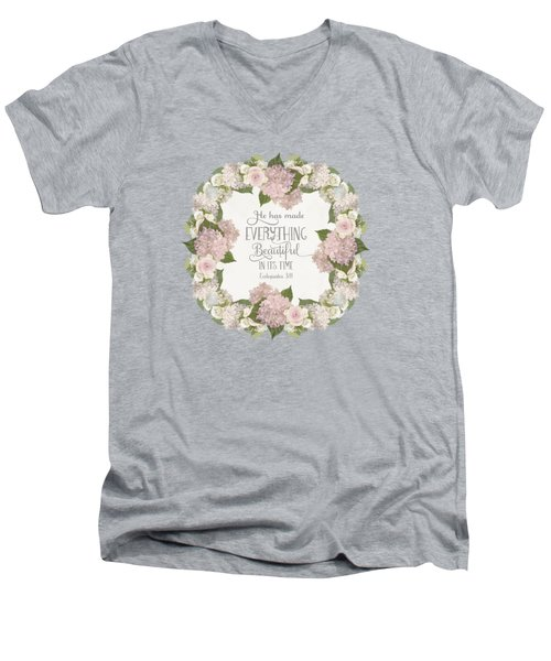 Inspirational Scripture - Everything Beautiful Pink Hydrangeas And Roses Men's V-Neck T-Shirt by Audrey Jeanne Roberts