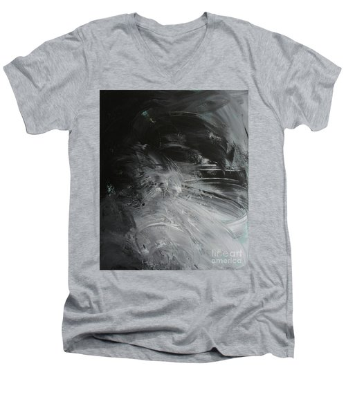 Men's V-Neck T-Shirt featuring the painting Intelligent Answers by Robin Maria Pedrero