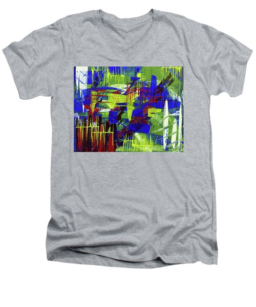 Men's V-Neck T-Shirt featuring the painting Intensity II by Cathy Beharriell