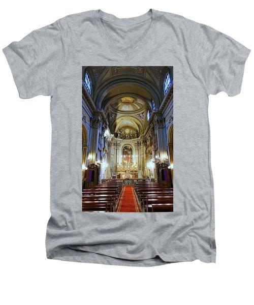 Interior View Of Santi Vincenzo E Anastasio A Fontana Di Trevi In Rome Italy Men's V-Neck T-Shirt