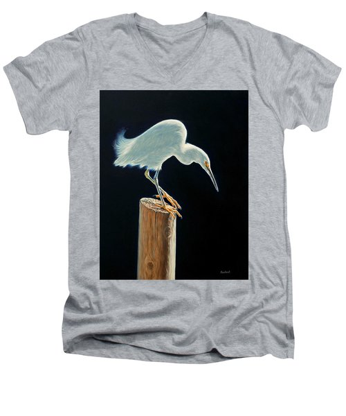Interlude - Snowy Egret Men's V-Neck T-Shirt