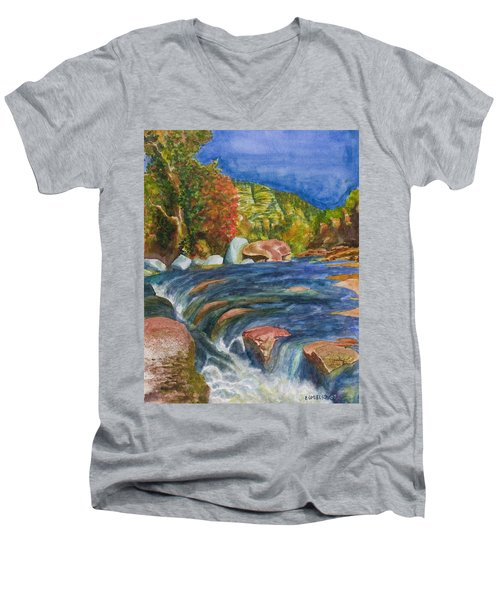 Into Slide Rock Men's V-Neck T-Shirt by Eric Samuelson