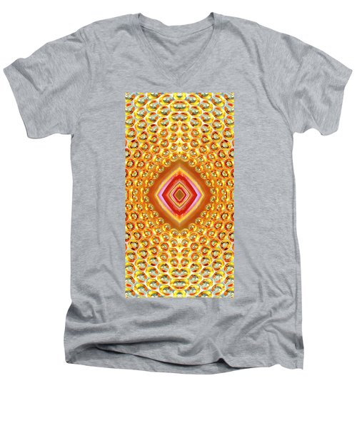 Men's V-Neck T-Shirt featuring the digital art Into The Centre - Vertical by Wendy Wilton