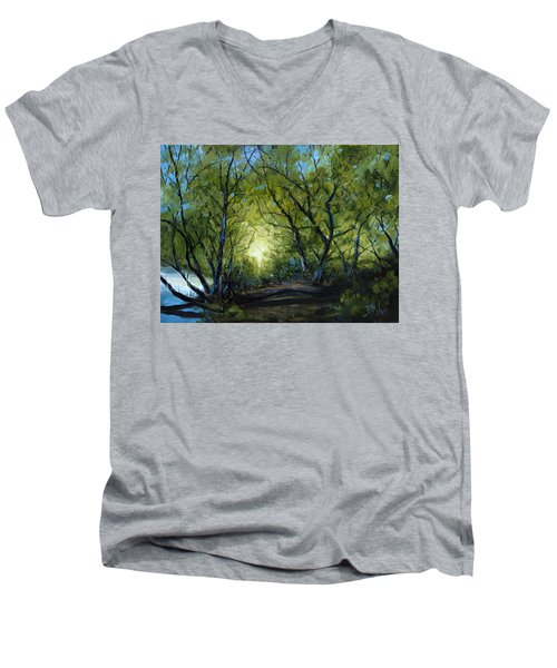 Men's V-Neck T-Shirt featuring the painting Into The Light by Billie Colson