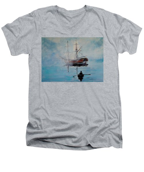Into The Mist Men's V-Neck T-Shirt by Alan Lakin