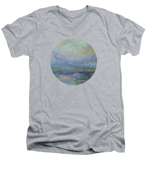 Men's V-Neck T-Shirt featuring the painting Into The Morning by Mary Wolf