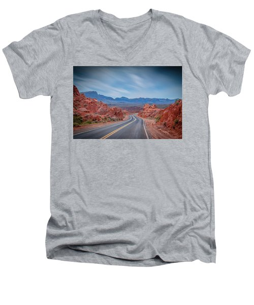 Into The Valley Of Fire Men's V-Neck T-Shirt by Mark Dunton