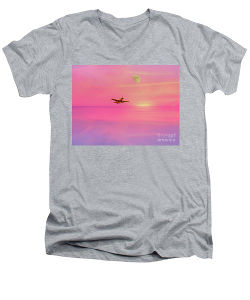 Into The Wild Pink Yonder Men's V-Neck T-Shirt