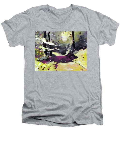 Men's V-Neck T-Shirt featuring the painting Into The Woods 2 by Anil Nene