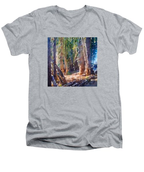 Men's V-Neck T-Shirt featuring the photograph Into The Woods Again by Ronda Broatch