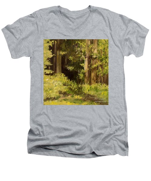 Men's V-Neck T-Shirt featuring the painting Into The Woods by Laurie Rohner