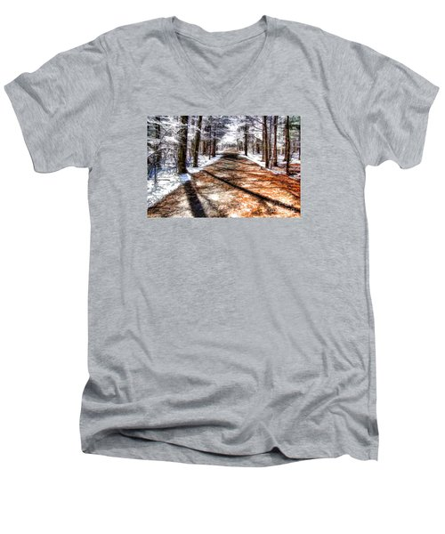 Into Winter Men's V-Neck T-Shirt by Betsy Zimmerli