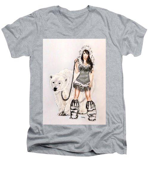 Inuit Pin-up Girl Men's V-Neck T-Shirt by Teresa Wing