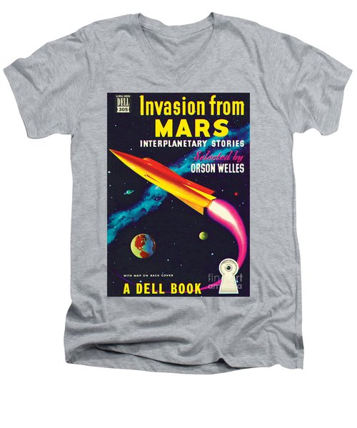 Invasion From Mars Men's V-Neck T-Shirt by Malcolm Smith