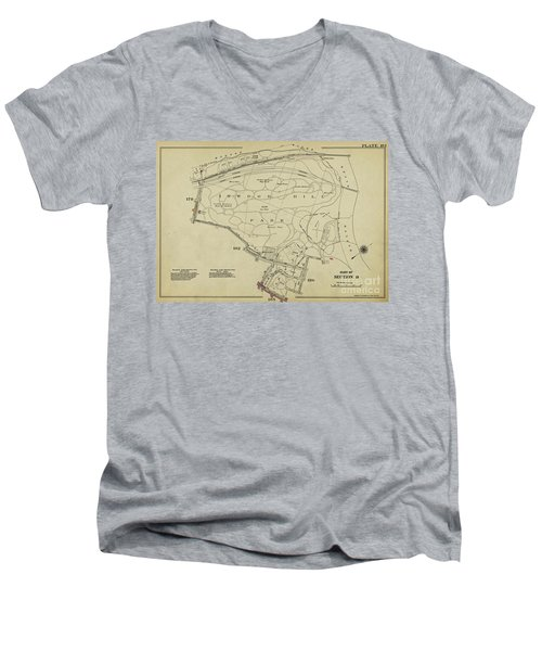 Men's V-Neck T-Shirt featuring the photograph Inwood Hill Park 1950's Map by Cole Thompson
