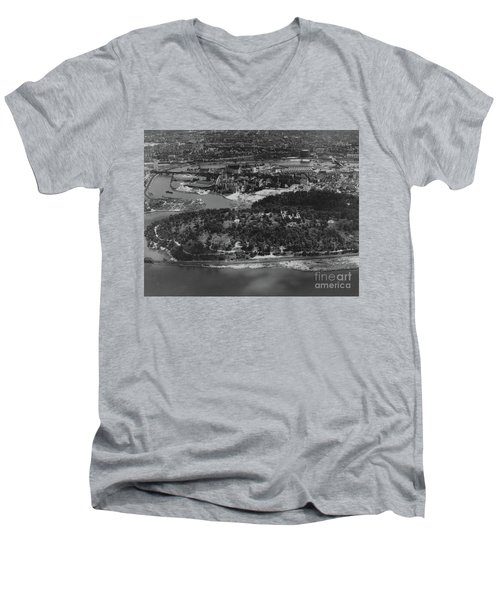 Men's V-Neck T-Shirt featuring the photograph Inwood Hill Park Aerial, 1935 by Cole Thompson