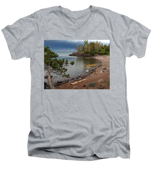 Men's V-Neck T-Shirt featuring the photograph Iona's Beach by James Peterson