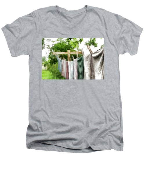 Men's V-Neck T-Shirt featuring the photograph Iowa Farm Laundry Day  by Wilma Birdwell