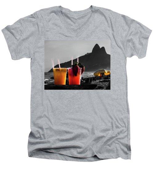 Ipanema With Cocktails Men's V-Neck T-Shirt by Cesar Vieira