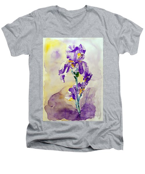 Men's V-Neck T-Shirt featuring the painting Iris 2 by Jasna Dragun