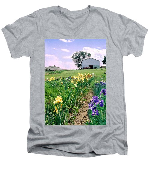 Men's V-Neck T-Shirt featuring the photograph Iris Farm by Steve Karol