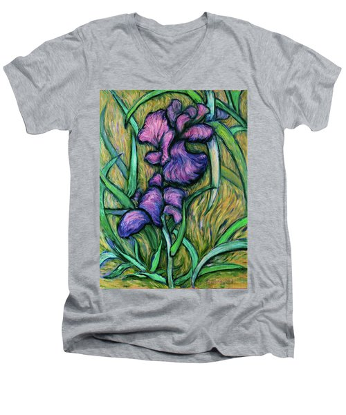 Men's V-Neck T-Shirt featuring the painting Iris For Vincent - Contemporary Fauvist Post-impressionist Oil Painting Original Art On Canvas by Xueling Zou