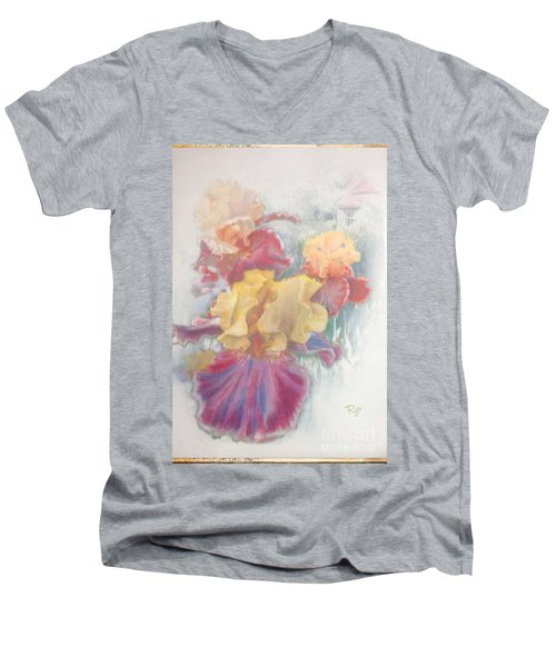 Men's V-Neck T-Shirt featuring the painting Iris In Cottage Garden by Ryn Shell