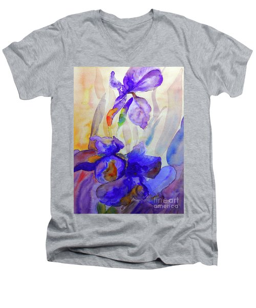 Men's V-Neck T-Shirt featuring the painting Iris by Jasna Dragun