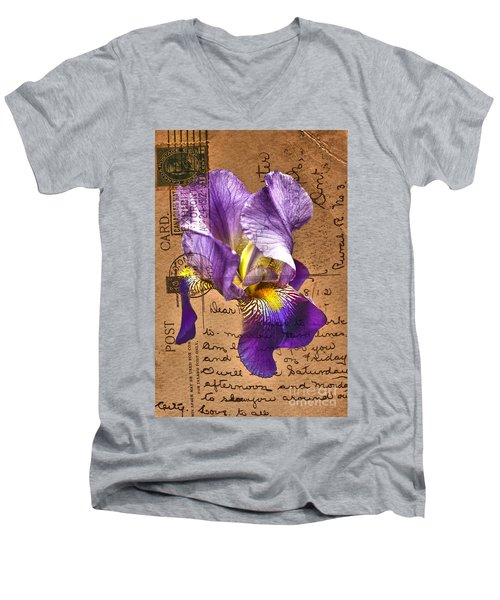 Iris On Vintage 1912 Postcard Men's V-Neck T-Shirt