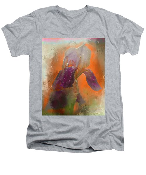 Men's V-Neck T-Shirt featuring the digital art Iris Resubmit by Jeff Burgess
