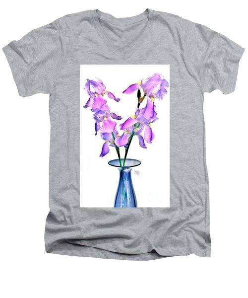Men's V-Neck T-Shirt featuring the digital art Iris Still Life In A Vase by Marsha Heiken