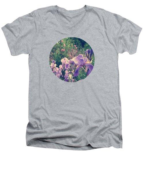 Irises And Roses In The Garden Men's V-Neck T-Shirt