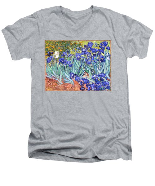 Men's V-Neck T-Shirt featuring the painting Irises by Van Gogh